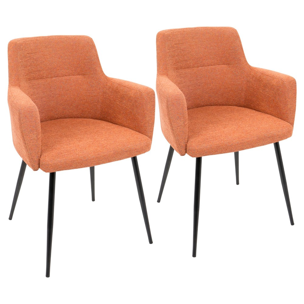 Image of Andrew Contemporary Dining, Accent Chair - Orange (Set of 2) Lumisource