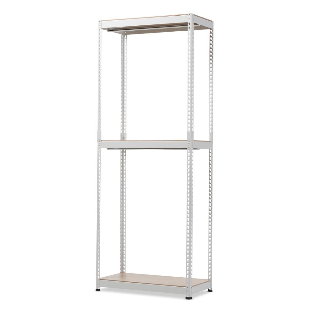 Gavin Metal 3 - Shelf Closet Storage Racking Organizer - White - Baxton Studio