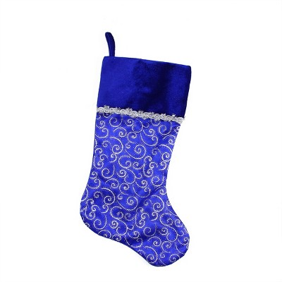 """Northlight 20.5"""" Royal Blue and Silver Swirl Christmas Stocking with Velveteen Cuff"""