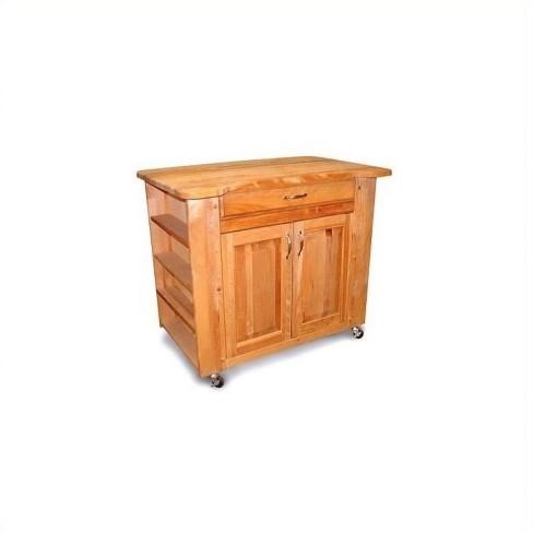 Wood Deep Storage Medium Butcher Block Kitchen Cart in Natural Finish Brown  - Catskill Craftsmen