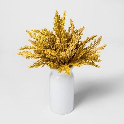 Faux Golden Rod in White Vase - Threshold™