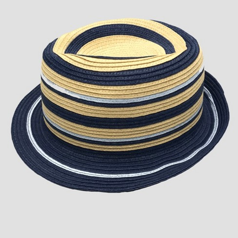 Toddler Boys' Striped Fedora - Cat & Jack™ Blue 2T-5T - image 1 of 2