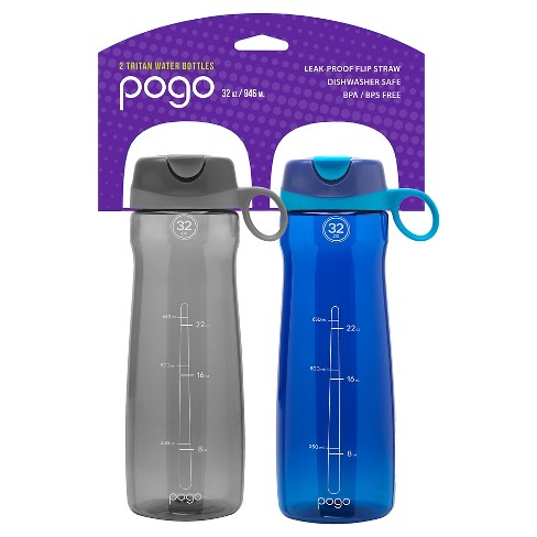 0de0593e1c Pogo Tritan Plastic Water Bottle 2-Pack 32oz, Straw Lid - Gray/Blue ...