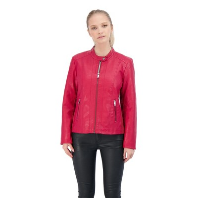 Sebby Collection Women's Faux Leather Racing Jacket