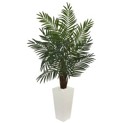 5 5ft Artificial Areca Palm Tree In White Tower Planter Nearly Natural Target
