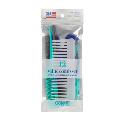 Conair Multipack Combs Made in USA - 12pc