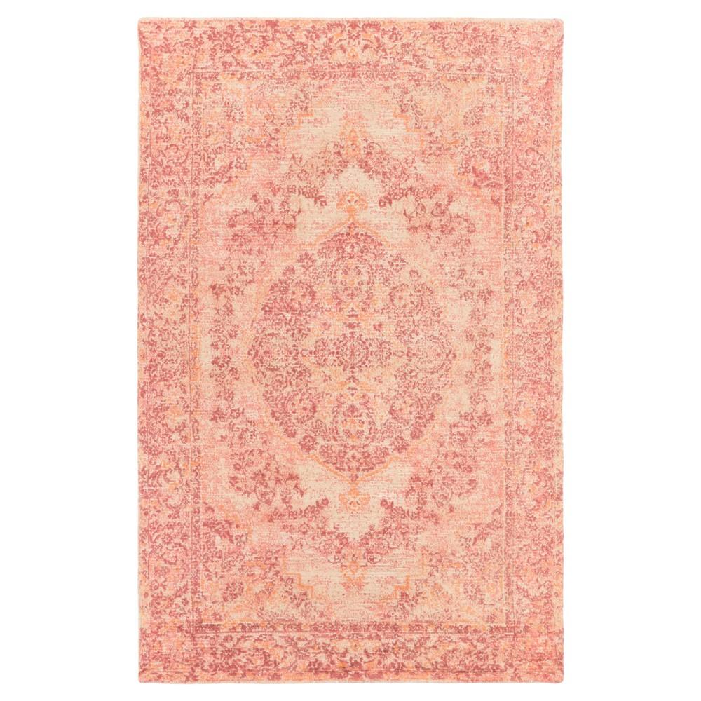 Rose (Pink) Damask Loomed Area Rug (5'3