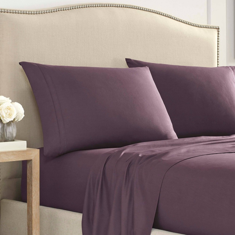 Twin Luxury 2000 Series Ultra Soft Hemstitched Solid Sheet Set Purple Martex