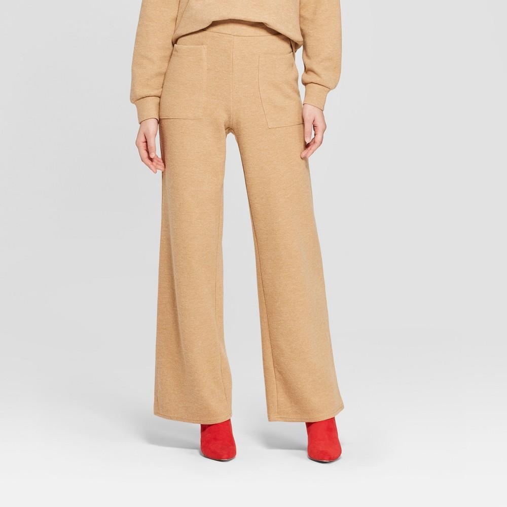 Women's Cozy Wide Leg Pants - Who What Wear Tan XL
