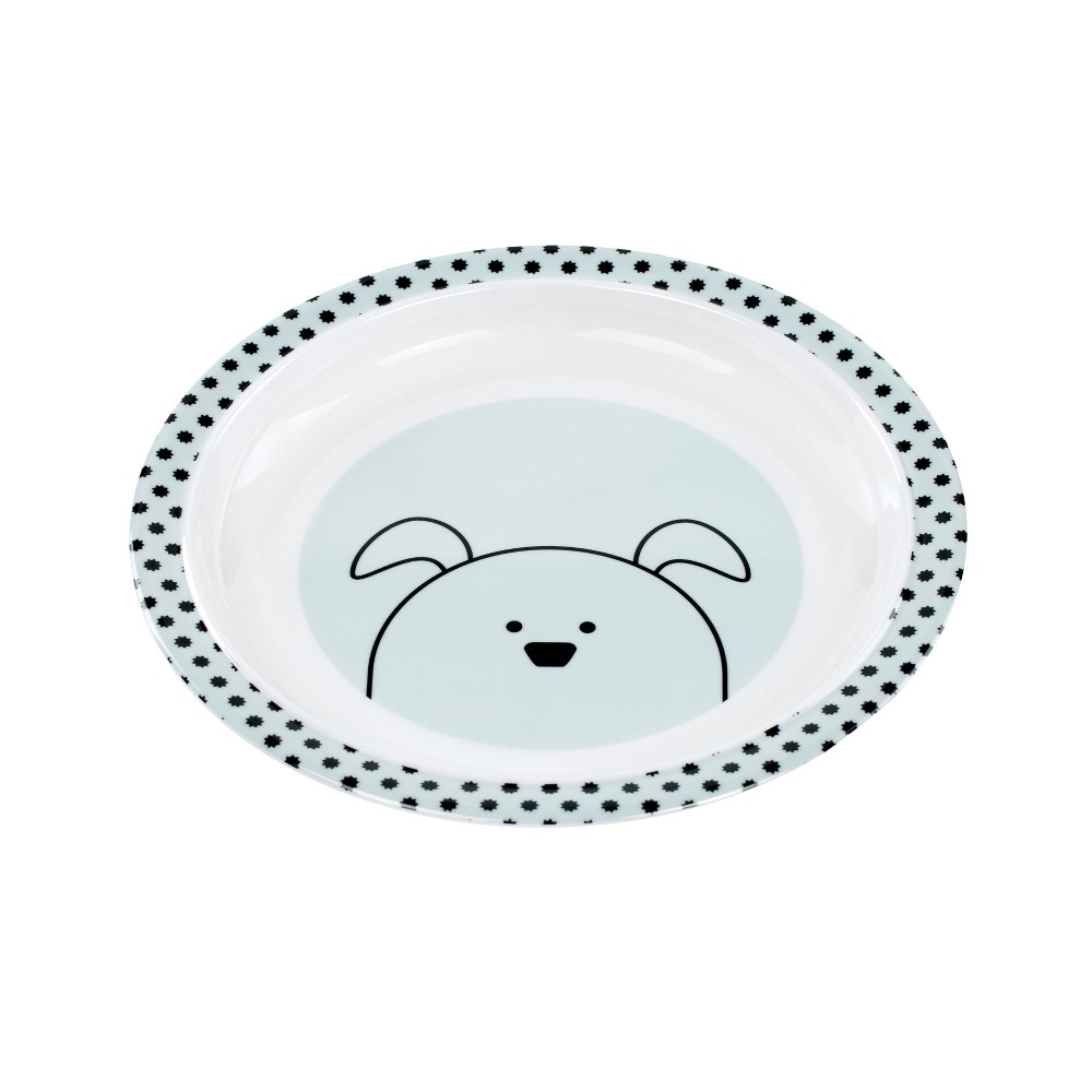 Image of Lassig Little Chums Dog Plate - Blue/White