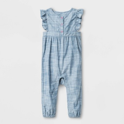 Baby Girls' Slub Chambray Romper - Cat & Jack™ Blue 3-6M