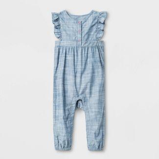 Baby Girls' Slub Chambray Romper - Cat & Jack™ Blue Newborn