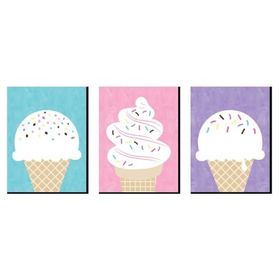 Big Dot of Happiness Scoop Up the Fun - Ice Cream - Sprinkles Kitchen Wall Art, Nursery Decor and Restaurant Decor - 7.5 x 10 inches - Set of 3 Prints