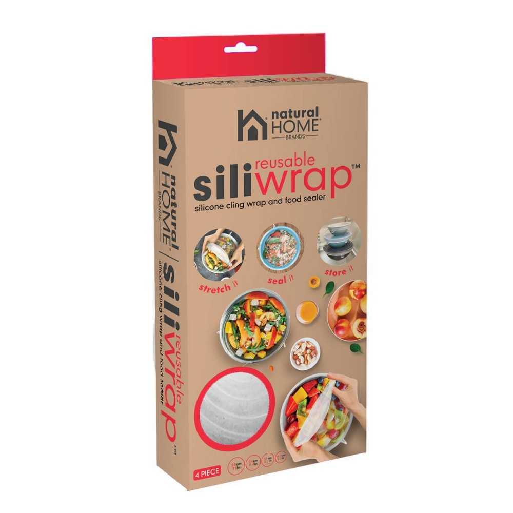 Image of Natural Home 4pk Large Siliwrap, Clear