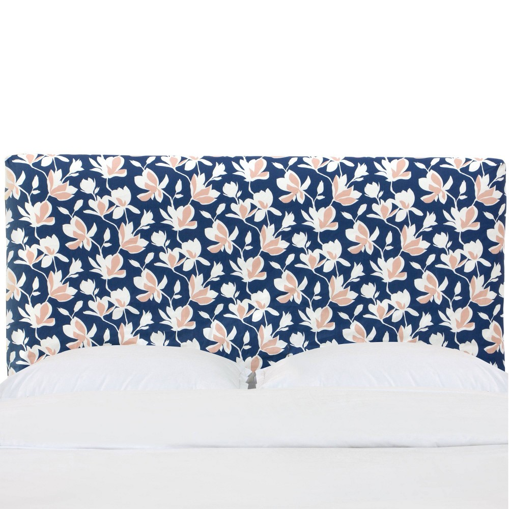 Twin Slipcover Headboard in Silhouette Floral Navy - Cloth & Co., Blue