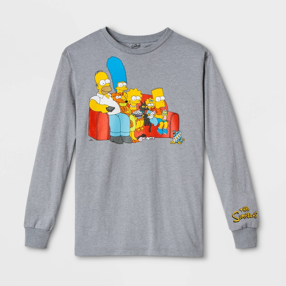 Image of Men's The Simpsons Long Sleeve Graphic T-Shirt - Gray 2XL, Men's