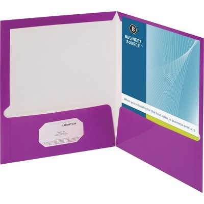 Business Source Two Pocket Folder Ltr 2-Pkts 100 Shts 25/BX PE 44429