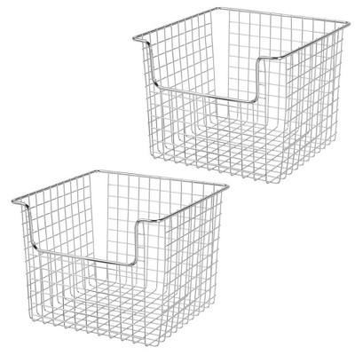 "mDesign Metal Storage Basket for Cube Furniture Units, 10"" Wide, 2 Pack - Chrome"