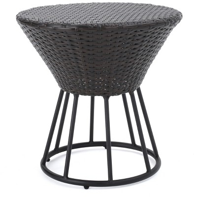 Crete Round Wicker Outdoor Side Table - Christopher Knight Home