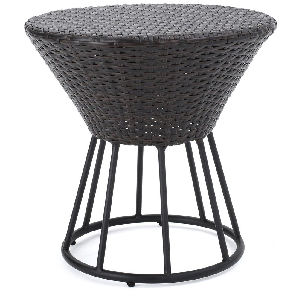 Crete Round Wicker Outdoor Side Table - Brown - Christopher Knight Home