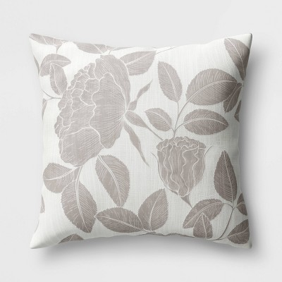 """18""""x18"""" Floral Square Throw Pillow Neutral - Threshold™"""