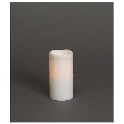 """Melrose 6"""" Winter Frost LED Lighted White Flameless Dripping Wax Christmas Pillar Candle"""