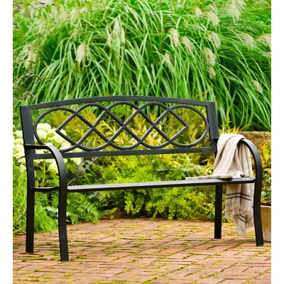 Exceptionnel Cast Iron Outdoor Garden Bench With Celtic Knot Design In Black   Plow U0026  Hearth