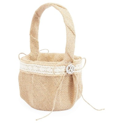 Sparkle and Bash Burlap Flower Girl Basket with Lace Ribbon for Weddings, Natural Color (5 x 9 in)