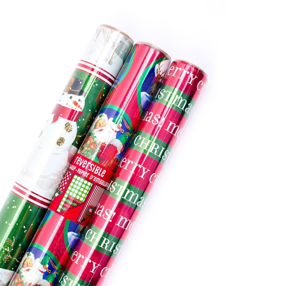 Image of 3ct/60 sq ft Hallmark Reversible Gift Wrap Red/Green - 60 sq ft