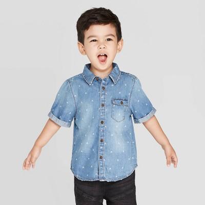Toddler Boys' Short Sleeve Arrow Button-Down Shirt - art class™ Blue 5T