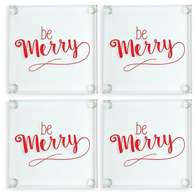 4ct Be Merry Glass Coasters