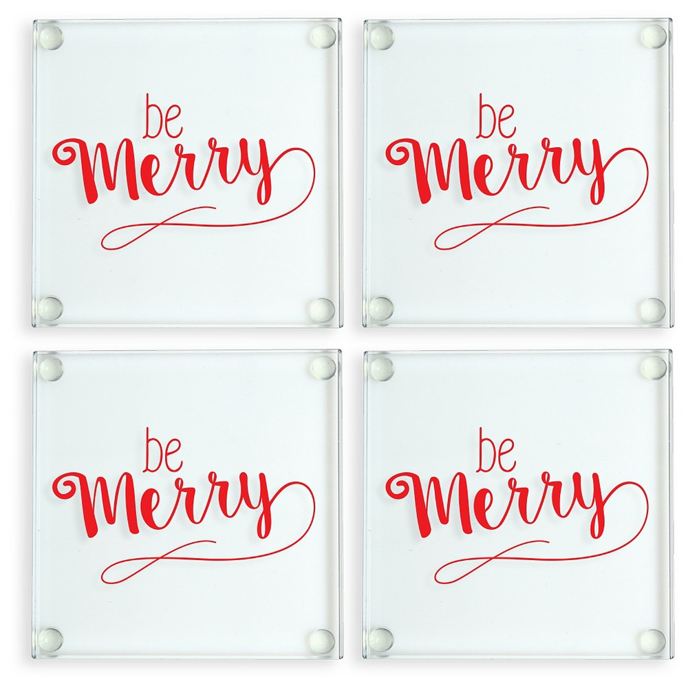 Image of 4ct Be Merry Glass Coasters, Clear Red