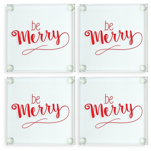 4ct Be Merry Glass Coasters - image 1 of 5