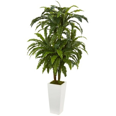 "50"" x 32"" Artificial Marginatum Plant in Vase White - Nearly Natural"