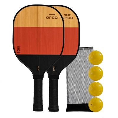 MD Sports Orca Echo Wood Pickleball Paddle Deluxe Combo Set - Yellow/Orange/Black