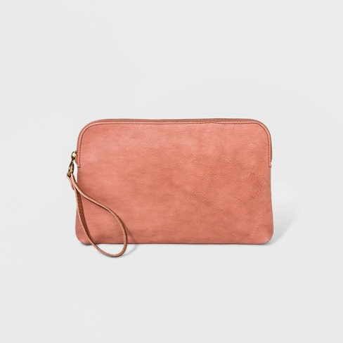 Genuine Leather Large Pouch Clutch - Universal Thread™ Blush - image 1 of 3