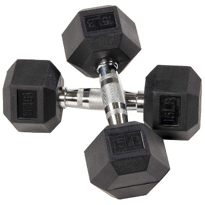 BalanceFrom Rubber Encased Hexagonal Cast Metal, Contoured Grip Strength Training Home Fitness Dumbbells Freeweight Set, 15 Pound Pair