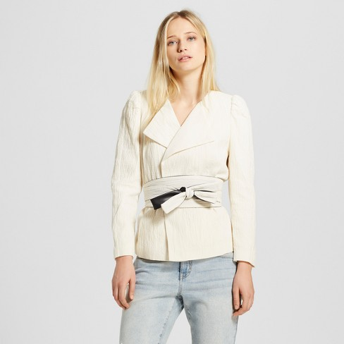 Women's Belted Blazer - Who What Wear™ White - image 1 of 3