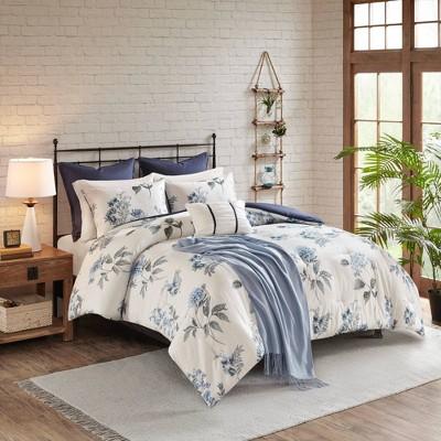 Benita Full/Queen 7pc Printed Seersucker Comforter Set Blue