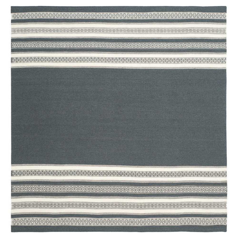 Porter Dhurrie Area Rug - Dark Gray (6' X 6') - Safavieh