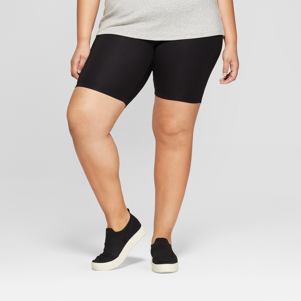 Women's Plus Size Bike Shorts - Ava & Viv Black 2X