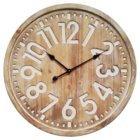 Decorative Round Wall Clock Distress Wood Finish - Infinity Instruments® - image 1 of 4