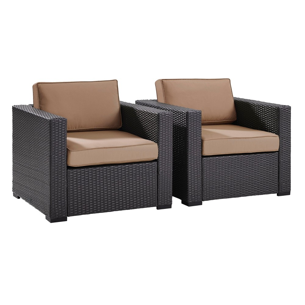 Biscayne 2pc Outdoor Wicker Seating Set In Mocha (Brown) - Two Outdoor Wicker Chairs - Crosley