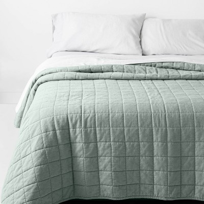 Full/Queen Heavyweight Linen Blend Quilt Sage Green - Casaluna™