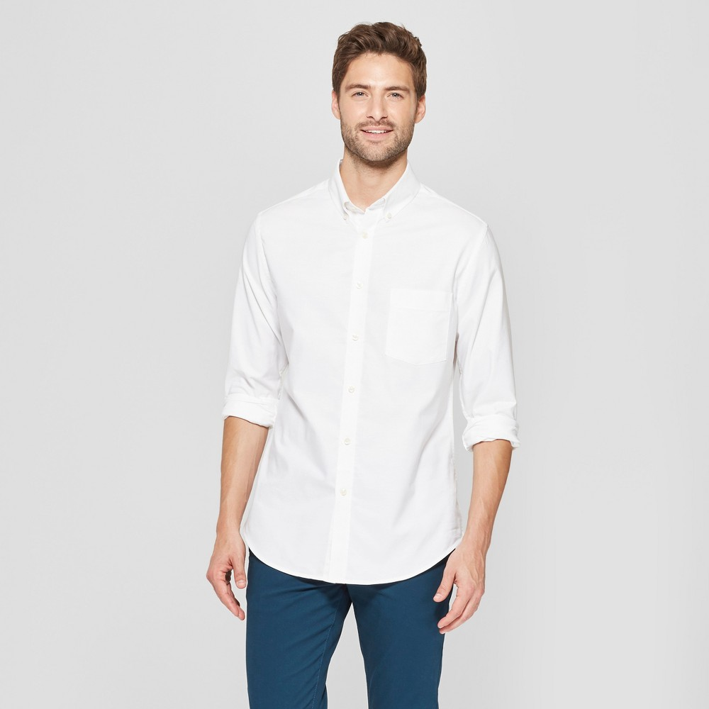 Men's Slim Fit Brushed Whittier Oxford Long Sleeve Collared Button-Down Shirt - Goodfellow & Co White XL