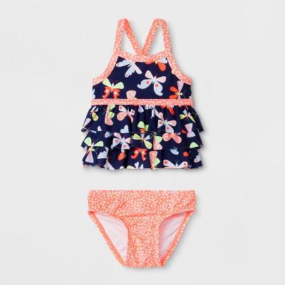 Baby Girls' Butterfly Ruffle Tankini Set - Cat & Jack™ Navy 12M