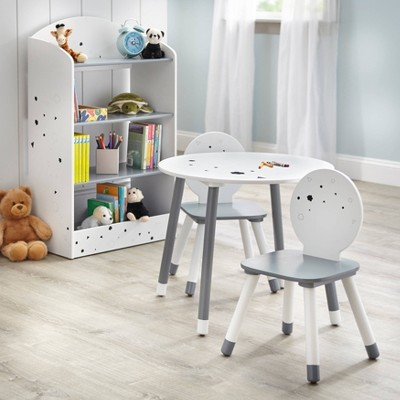 Talori Kids' Table and Chair Set with Bookshelf Gray/White - Buylateral