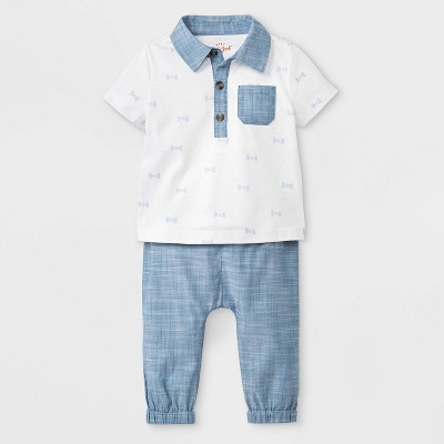Baby Boys' Short Sleeve Polo and Poplin Jogger Set - Cat & Jack™ Blue/White 6-9M