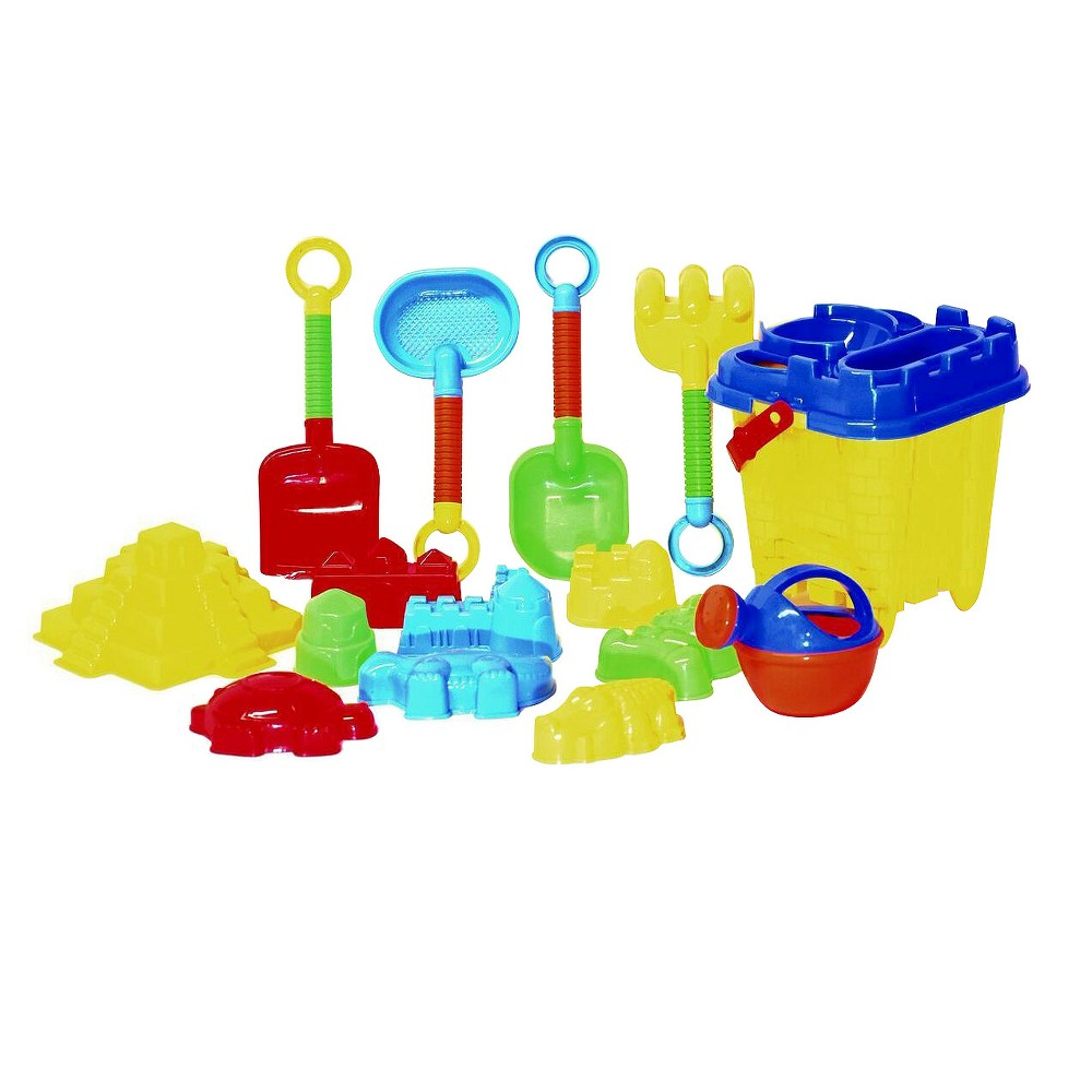 Image of Beach Toys For Kids with Reusable Mesh Bag Castle Bucket and Mold - Justforkids