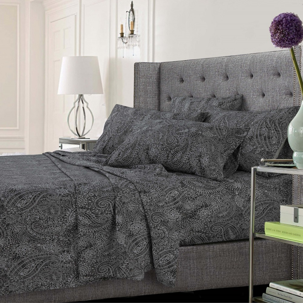Tribeca Living Microfiber Extra Deep Pocket Sheet Set Queen - Paisley Gray